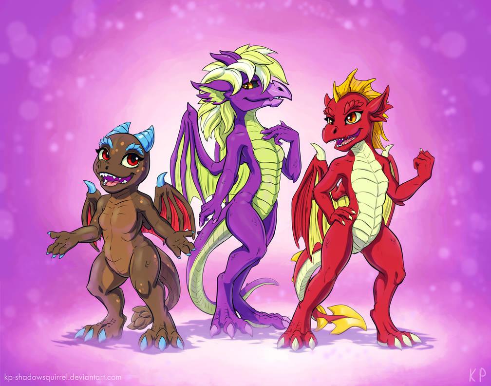 Dragon Girls by KP-ShadowSquirrel