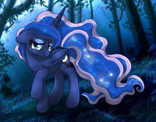 MLP FIM - Princess Luna Sad In The Forest by Joakaha