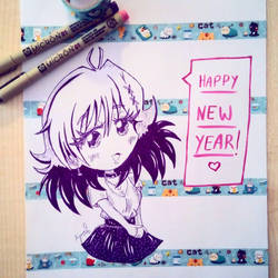 My Oc Sanae wishes you a Happy New Year! by Ayumii-chan92