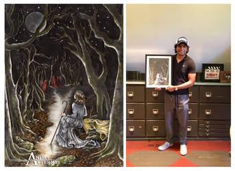 M. Night Shyamalan holding my Painting by AnimaEterna