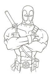 Deadpool Lineart by HiringHenchmen