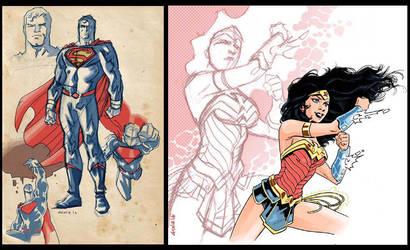 Superman and WonderWoman Rebirth by dichiara