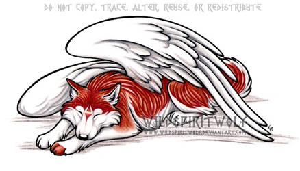 Sleeping Winged Husky Commish by WildSpiritWolf