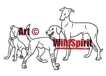Three Dog Lineart Commish by WildSpiritWolf
