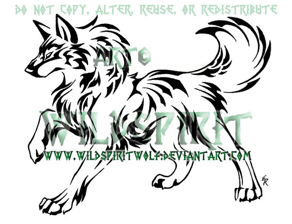 Nature Wolf Tattoo Commish by WildSpiritWolf