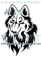 Tribal Wolf Bust Tattoo by WildSpiritWolf