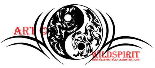 Yin Yang Tribal Wolf Tattoo by WildSpiritWolf