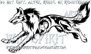 Tribal Running Wolf Tattoo by WildSpiritWolf