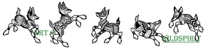 Volcano Dogs Tattoo Set by WildSpiritWolf