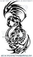Phoenix Dragon Tribal Design by WildSpiritWolf
