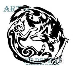 Playful Cat And Wolf Tattoo by WildSpiritWolf