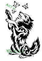 Wolf And Butterflies Tattoo by WildSpiritWolf