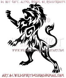 Rampant Lion Tribal Design by WildSpiritWolf