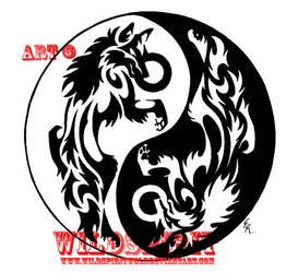 Yin-Yang Wolves Frisbee Design by WildSpiritWolf