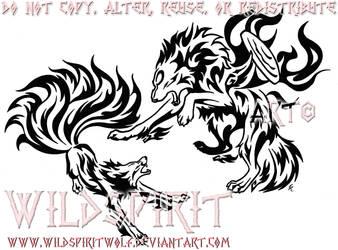 Amaterasu Vs. Kyuubi Tattoo by WildSpiritWolf