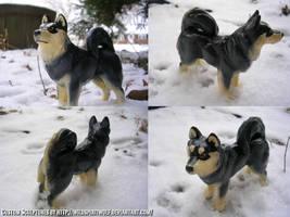 Finnish Lapphund Dog Sculpture by WildSpiritWolf