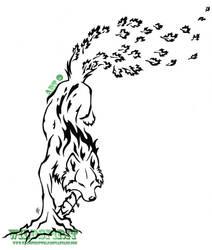 Elemental Leaping Wolf Tattoo by WildSpiritWolf