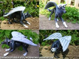 StormHunter Wolf Sculpture by WildSpiritWolf