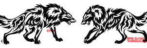 Tribal Wolf Face Off Tattoo Set by WildSpiritWolf