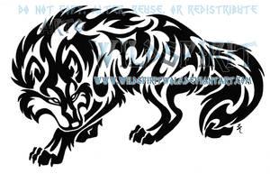 Prowling Tribal Wolf Tattoo by WildSpiritWolf