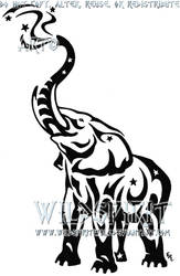 Starry Tribal Elephant Tattoo by WildSpiritWolf