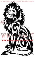 Seated Tribal Lion Tattoo by WildSpiritWolf