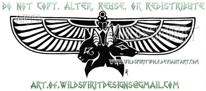 Bastet And Anubis Winged Tatto by WildSpiritWolf