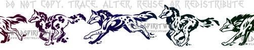Elemental Wolf Set Tattoo by WildSpiritWolf