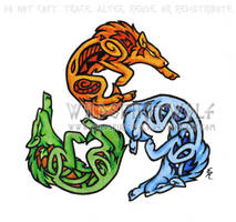 Element Wolf Triskele Tattoo by WildSpiritWolf