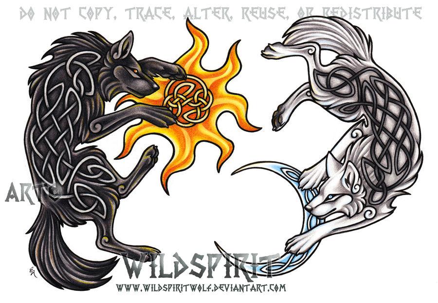 Ragnarok Wolves - Hati + Skoll by WildSpiritWolf