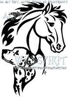 Horse And Dalmatian Tattoo by WildSpiritWolf