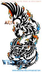Phoenix Dragon Color Splash by WildSpiritWolf