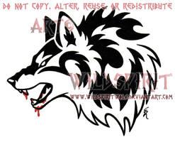 Bloody Jawed Wolf Head Tattoo by WildSpiritWolf