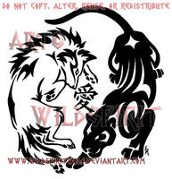 Wolf And Panther Kanji Tattoo by WildSpiritWolf