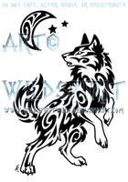 Windy Swirl Wolf And Moon Tattoo by WildSpiritWolf