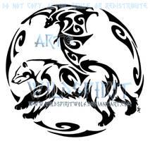Bear And Bat Circular Tattoo by WildSpiritWolf