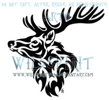Tribal Stag Head Tattoo by WildSpiritWolf