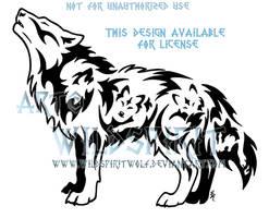 Voices Within Emotion Wolf Tribal Design by WildSpiritWolf