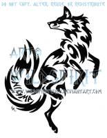Enigma Leaping Fox Tribal Design by WildSpiritWolf
