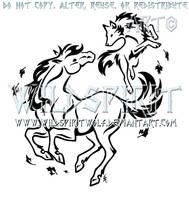 Spirit Dance - Wolf And Horse Design by WildSpiritWolf
