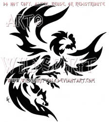 Rooster And Boar Tribal Design by WildSpiritWolf