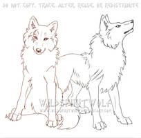 Heiro And Fallon Wolves Sketch by WildSpiritWolf