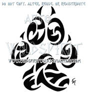Wolf Paw Print Tribal Tattoo by WildSpiritWolf