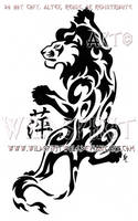 Tribal Climbing Lion And Kanji Design by WildSpiritWolf