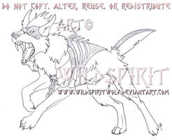 Attacking Jigsaw Wolf Sketch Commission by WildSpiritWolf