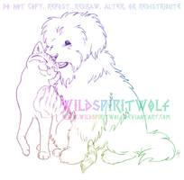 Blacky And Pinky Friends Sketch by WildSpiritWolf