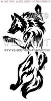 Yin Yang Set Climbing Tribal Wolf Design by WildSpiritWolf