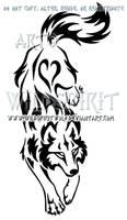 Yin Yang Set Descending Tribal Wolf Design by WildSpiritWolf