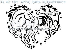 Horse And Wolf Starry Heart Design by WildSpiritWolf