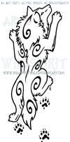 Climbing Wolf And Ferret Paw Prints Design by WildSpiritWolf